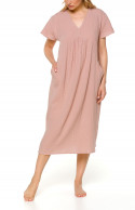 Loose-fitting, flared nightdress/lounge robe with flared short sleeves