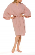 Loose-fitting, short kimono-style cotton dressing gown