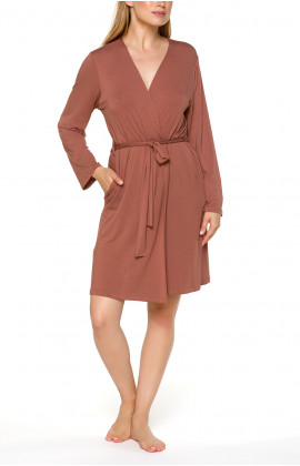 Classic short fitted dressing gown with long sleeves Different colours - Coemi-lingerie