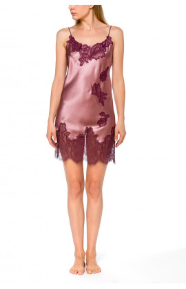 Glamorous satin negligee with matching lace and thin, adjustable straps