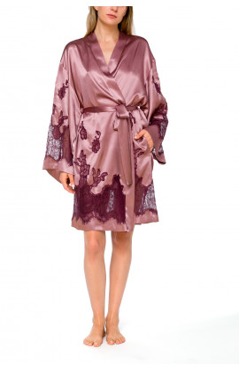 Satin and lace dressing gown with long, flared sleeves - Coemi-lingerie