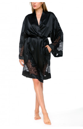 Satin and lace dressing gown with long, flared sleeves