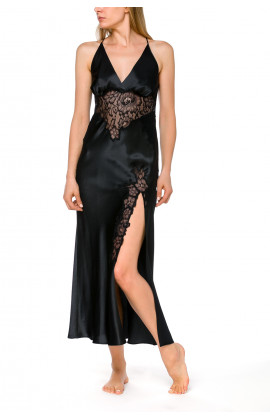 Long nightdress in satin and lace with thin, criss-cross straps at the back