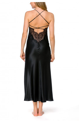 Long nightdress in satin and lace with thin, criss-cross straps at the back - Coemi-lingerie