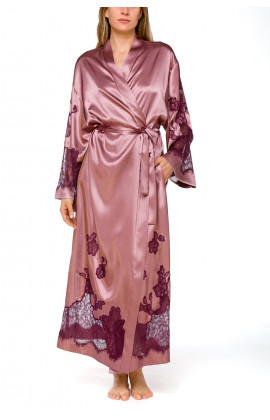 Long, wrap-around, satin and lace dressing gown with long, flared sleeves