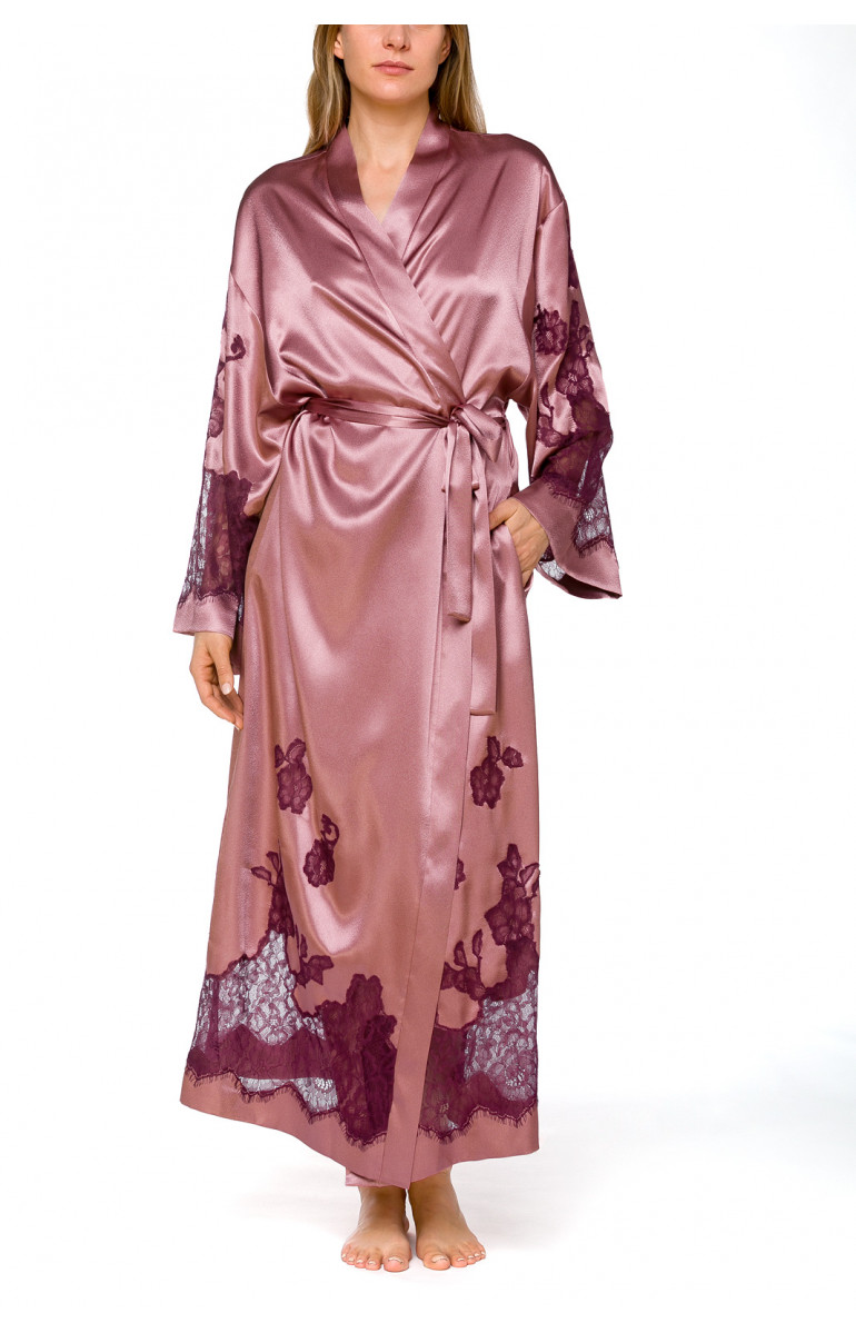 Long, wrap-around, satin and lace dressing gown with long, flared sleeves - Coemi-lingerie