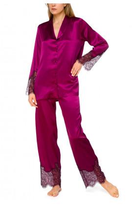 Gorgeous 2-piece satin pyjamas with matching lace - Coemi-lingerie