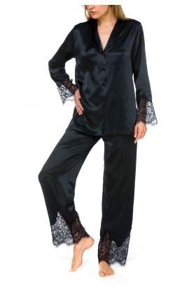 Gorgeous 2-piece satin pyjamas with matching lace