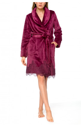 Pretty little velvety bathrobe with shawl collar, enhanced with lace - Coemi-lingerie