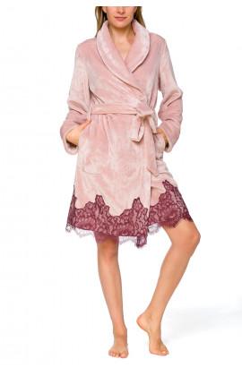 Pretty little velvety bathrobe with shawl collar, enhanced with lace