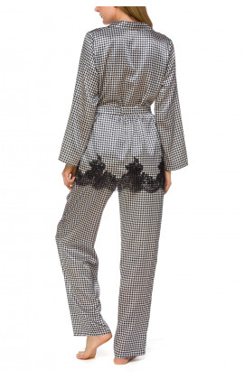 2-piece satin pyjamas with a dogtooth motif and lace - Coemi-lingerie