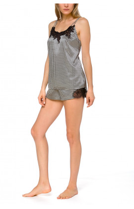 Satin top and shorts nightwear set with a dogtooth motif