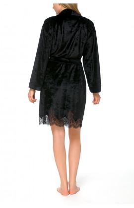 Pretty, black short bathrobe in a blend of bamboo fibre - Coemi-lingerie