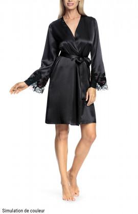 Elegant, short satin dressing gown with belt - Coemi-lingerie