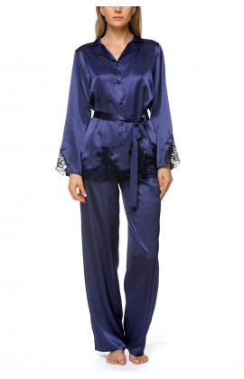 2-piece pyjamas in satin and lace, with a belt - Coemi-lingerie