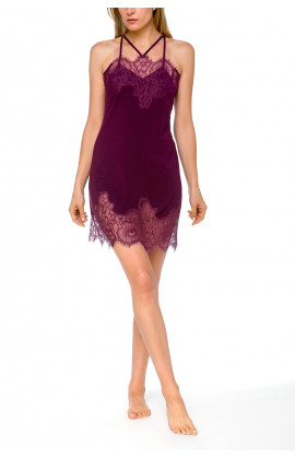 Very glamorous negligee with criss-cross straps and pretty lace - Coemi-lingerie