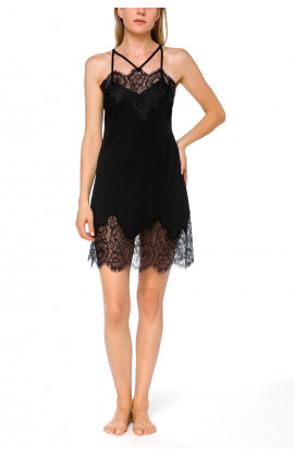 Very glamorous negligee with criss-cross straps and pretty lace