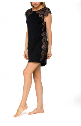 Negligee with short flounce sleeves in micromodal and lace