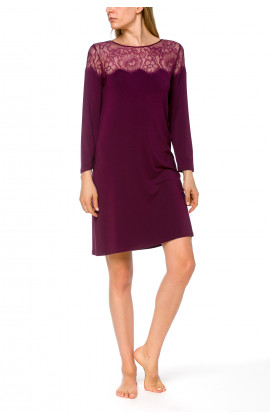 Tunic-style, long-sleeve nightdress in a blend of micromodal and elastane - Coemi-lingerie