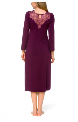 Night shirt/lounge robe with long sleeves and lace adorning the neckline and back - Coemi-lingerie