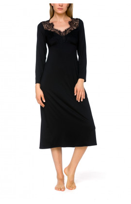Night shirt/lounge robe with long sleeves and lace adorning the neckline and back