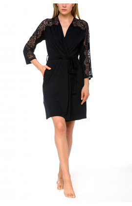 Short, fitted dressing gown in micromodal and lace - Coemi-lingerie