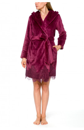 Elegant, hooded, fleece bathrobe with lace - Coemi-lingerie