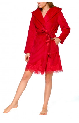 Elegant, hooded, fleece bathrobe with lace