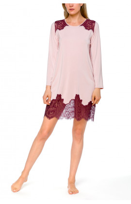 Little nightdress with long sleeves, in micromodal and lace - Coemi-lingerie