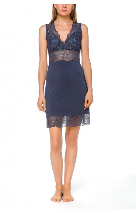 Sleeveless negligee in micromodal, elastane and lace