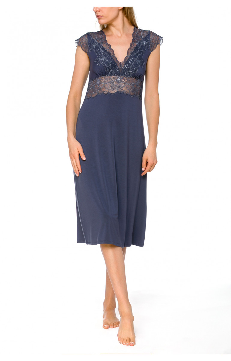 Mid-length nightdress/lounge robe with short flounce sleeves in lace - Coemi-lingerie
