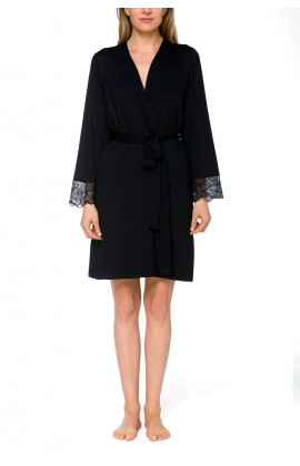 Short dressing gown in micromodal, elastane and lace - Coemi-lingerie