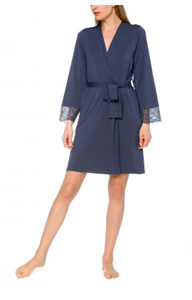 Short dressing gown in micromodal, elastane and lace