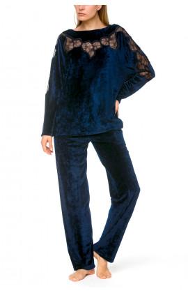 Reversible 2-piece navy blue lounge set in velvety bamboo fibre  - Coemi-lingerie
