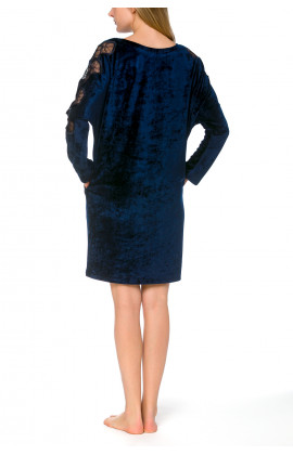 Reversible long sleeve lacy nightdress in velvety bamboo fibre - Coemi-lingerie