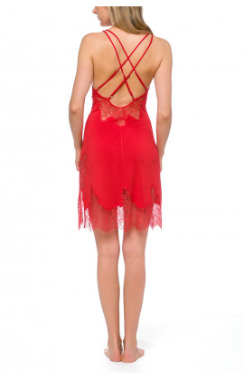 Sexy negligee with criss-cross straps at the back in blazing red fabric with lace - Coemi-lingerie