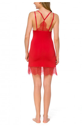 Sexy, blazing red negligee with adjustable straps and lace - Coemi-lingerie
