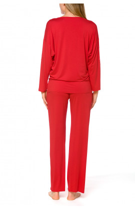 Red loungewear/2-piece pyjama set made of micromodal and lace - Coemi-lingerie