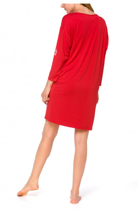 Tunic-style nightdress with batwing sleeves and lace - Coemi-lingerie