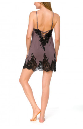 Negligee in stylish, grey micromodal fabric and black lace with adjustable straps - Coemi-lingerie