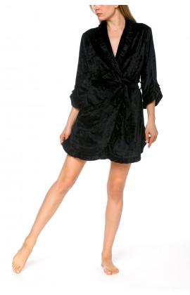 Elegant little black bathrobe in velvety fleece with three-quarter length sleeves - Coemi-lingerie