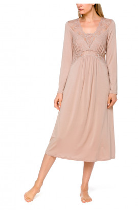 Mid-length nightdress/lounge robe with long sleeves and lace