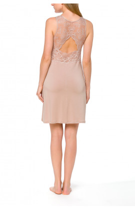 Gorgeous, skin-coloured negligee in micromodal and lace with a fitted bust - Coemi-lingerie