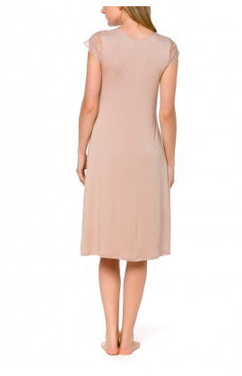 Skin-coloured nightdress with short flounce lace sleeves and V-neck - Coemi-lingerie
