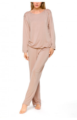 Skin-coloured 2-piece pyjamas/loungewear set with long sleeves and lace - Coemi-lingerie