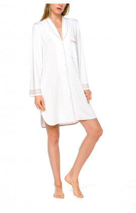 Nightshirt-style white nightdress with long sleeves and lace - Coemi-lingerie