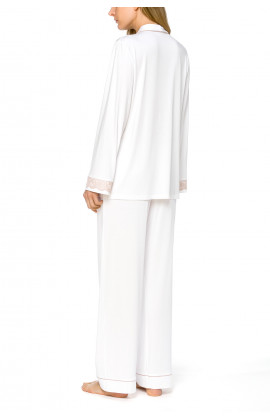 2-piece pyjamas in white micromodal fabric with beige lace trimming - Coemi-lingerie