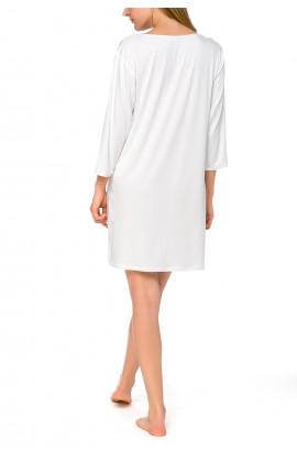 Short, tunic-style nightdress with three-quarter length sleeves and lace neckline - Coemi-lingerie