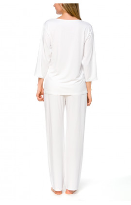 White 2-piece pyjamas/loungewear set in micromodal and lace - Coemi-lingerie
