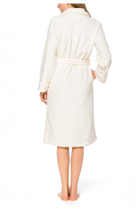 Mid-length bathrobe in terry cloth fleece, with shawl collar and long sleeves - Coemi-lingerie